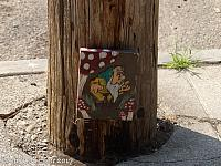 There are lots of gnomes hiding on utility poles throughout Oakland!