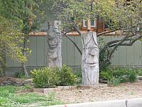 Rescued carved trees are now on display across from the park