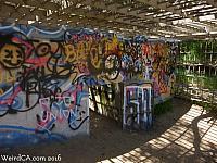 Graffiti covered cage