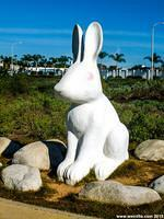 One of two eight foot tall bunnies in the park.