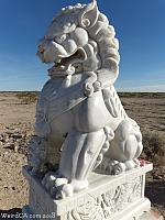 Chinese Guardian Lions protect the Mojave Desert along Route 66