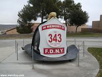 A Large FDNY Fire Helmet pays tribute to 9/11 in Barstow