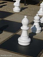 A white bishop, part of the Morro Bay Chess Set