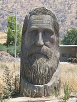 The Head of John Muir sits on Highway 198 carved out of wood.