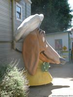 A Doggie Diner Head lives in the driveway of the Dachshund House in Berkeley
