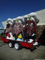 Three Doggie Diner Heads are parked on Treasure Island