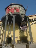 The Frys in Roseville has a runaway train crashing over its front entrance!