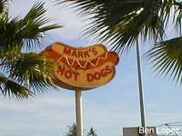 Mark's Hot Dogs is housed in a Giant Orange