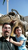 Posing with one of the dinosaurs