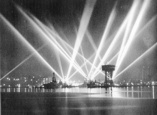 Los Angeles Harbor lit up with searchlights during the Great Los Angeles Air Raid
