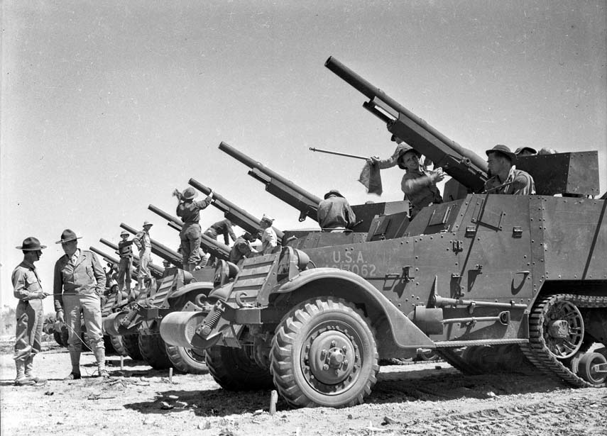April 1942, Maneuvers in the Desert of California, photo from Los Angeles Times, by George Watson