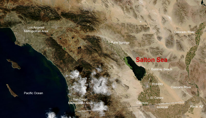 Map showing the location of the Salton Sea - taken from <a href='http://en.wikipedia.org/wiki/Image:Saltonseamap.jpg'>Wikipedia</a>