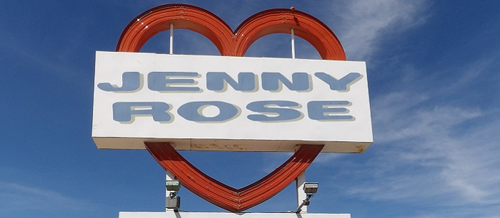 Now closed, the iconic Jenny Rose Restaurant sign sits on I15 on your way to Las Vegas